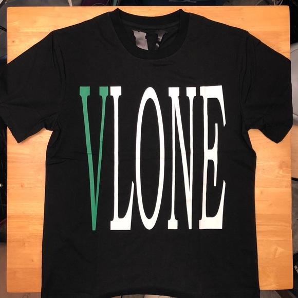 Vlone Staple Green Ships Immediately Black T-shirt Size S-XL